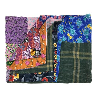 Green and Gegium Rug and Relic Kantha Quilt