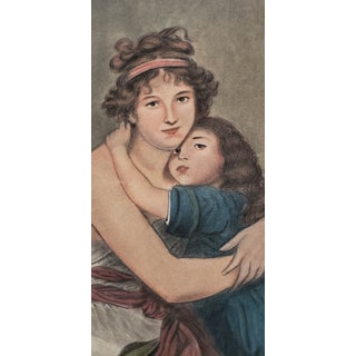 Fine Pastel Portrait of a Young Mother and Daughter Early to Mid 20th Century Preview