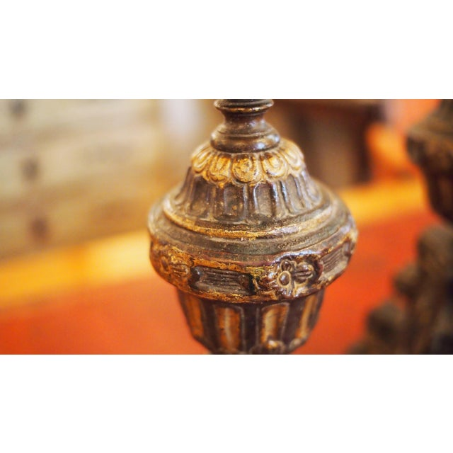 Louis XIV Style Tole Candlesticks For Sale - Image 10 of 11