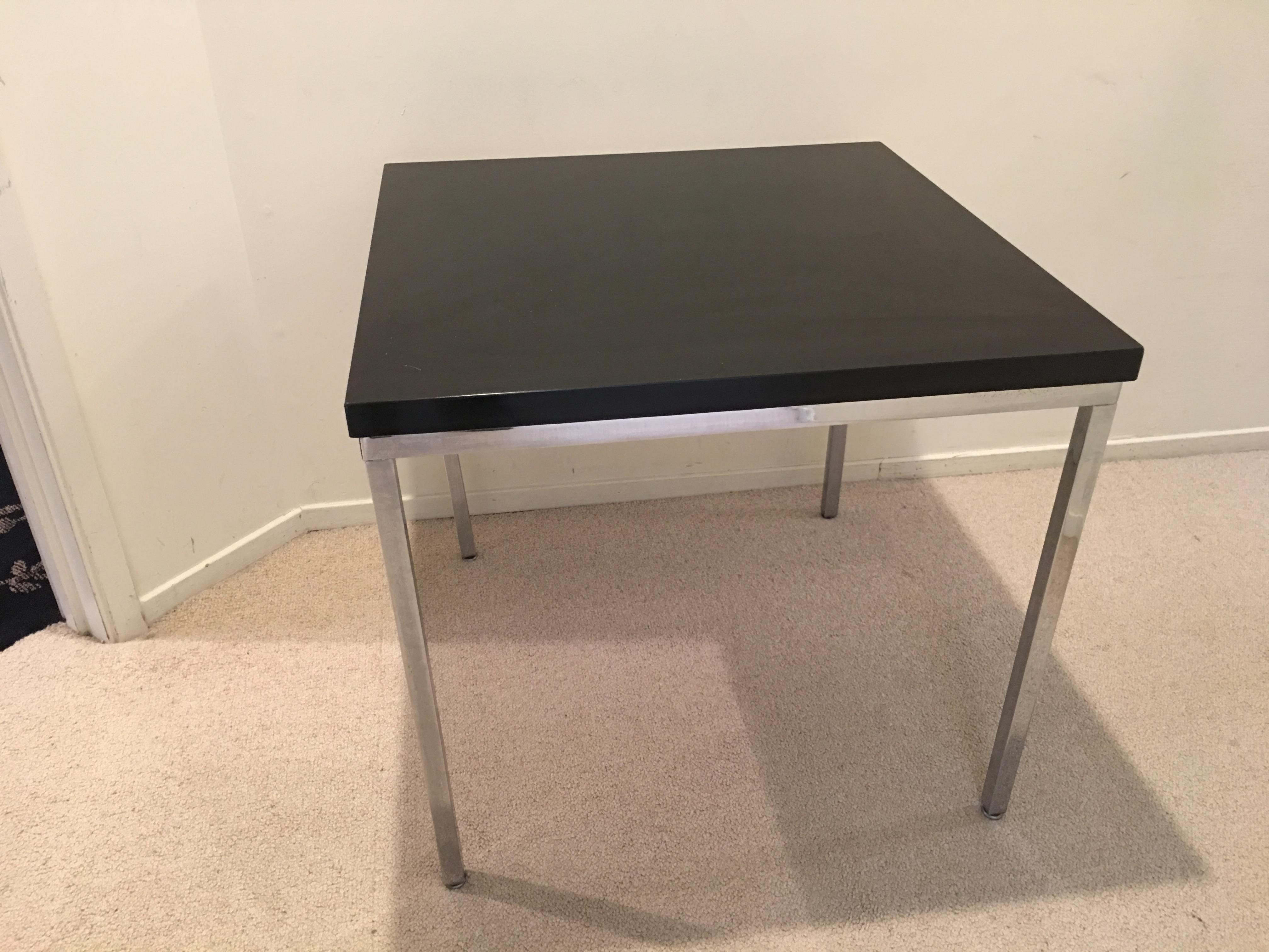 This Original Florence Knoll Coffee Table Is In Chrome With A Black Top.  The Beauty