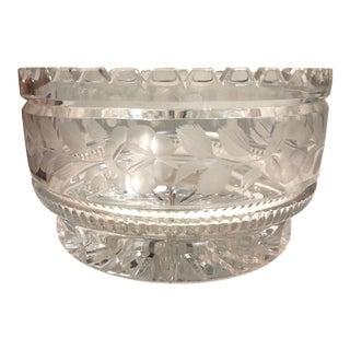 Vintage 1960s Cut Crystal Serving Bowl Rose & Leaf Motif For Sale