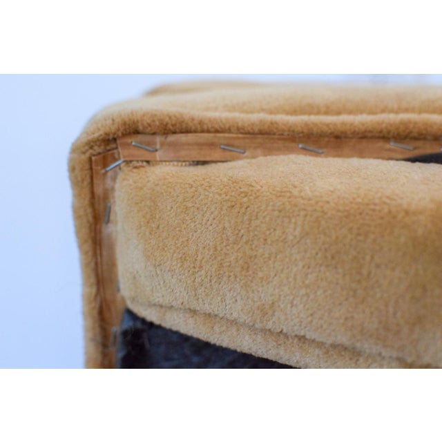 """Vintage Mid Century Tan Mohair """"X"""" Benches- A Pair For Sale - Image 10 of 12"""