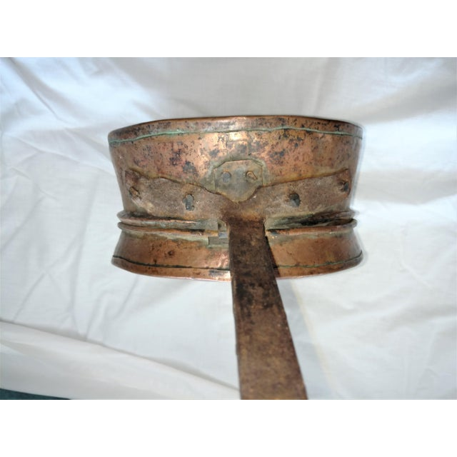 Mid 19th Century Antique 1840's Copper Bed Warmer Hand Wrought Hearth For Sale - Image 5 of 10