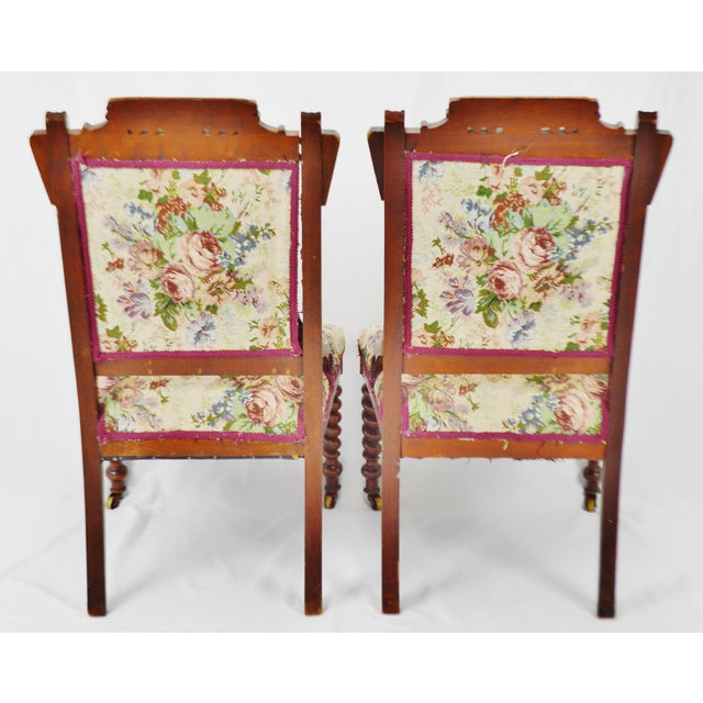 Green Victorian Eastlake Side Chairs - a Pair For Sale - Image 8 of 13