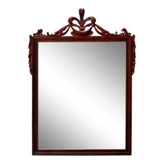 Antique French Fleur-de-Lis Parcel Gilt Carved Mahogany Wall Mirror For Sale