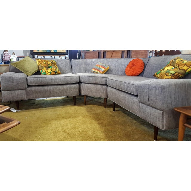 Mid-Century Modern Gray Sectional Sofa - Image 3 of 8