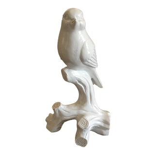 Palm Beach Chic White Lacquered Resin Bird Figurine For Sale