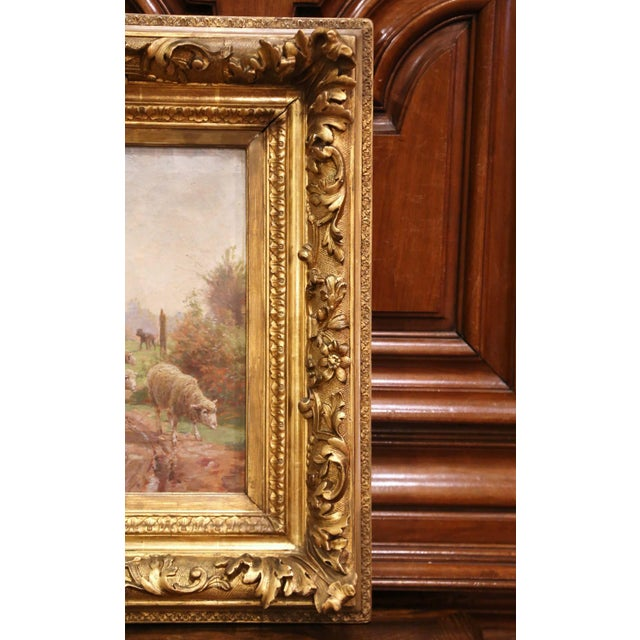 19th Century French Sheep Painting in Carved Gilt Frame Signed Charles Clair For Sale In Dallas - Image 6 of 12