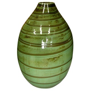 Thai Contemporary Artisan Made Ceramic Vase with Swirled Green and Brown Glaze For Sale