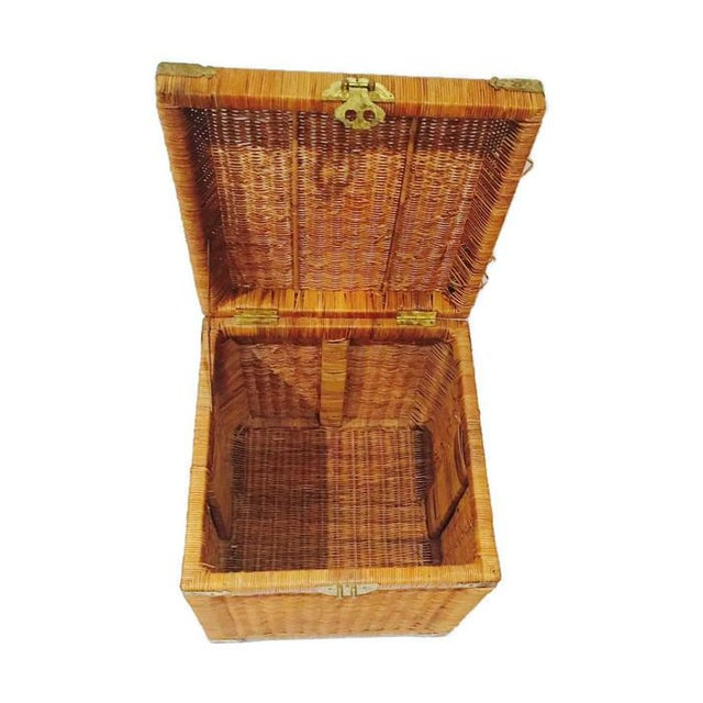 Vintage Rattan Cube End Table/Box - Image 5 of 6