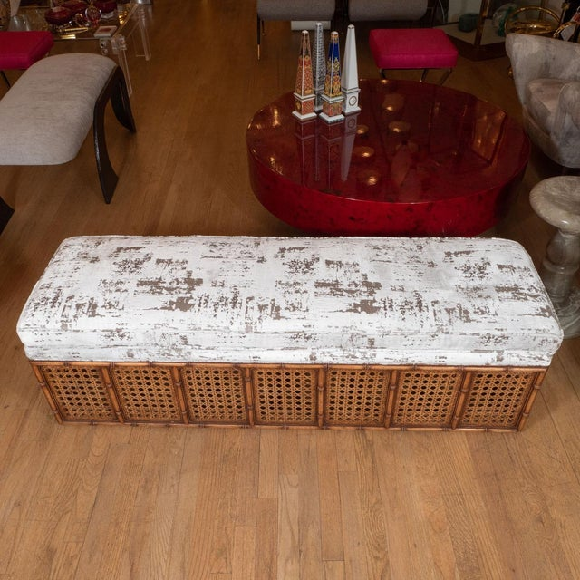 Mid-Century Modern 1970s Rectangular Caned Wood Bench with Upholstered Seat For Sale - Image 3 of 5