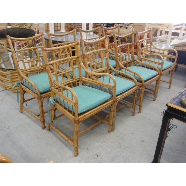 Vintage Geometric Bamboo & Cane Dining Chairs - Set of 8 For Sale - Image 4 of 12