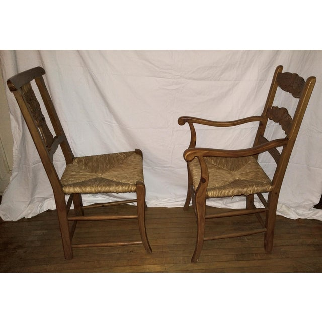 French Country 1970s French Country Hand Carved Rush Seat Chairs - Set of 4 For Sale - Image 3 of 13