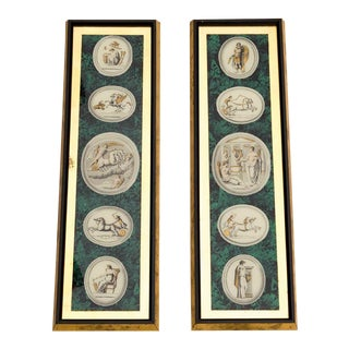 Tall Neoclassical Roman Gods Intaglio Etching Framed Wall Art Prints, a Pair For Sale