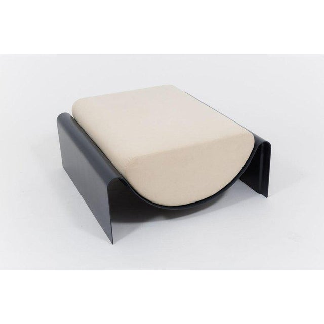 Asa Pingree Eclipse Fiberglass Upholstered Ottoman, Midnight Blue For Sale In New York - Image 6 of 8