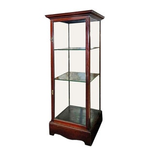 Vintage Mahogany Showcase With Two Glass Shelves