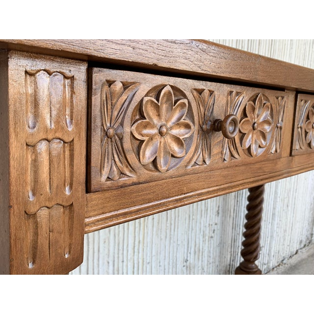Spanish Baroque Carved Walnut Console Table With Two Drawers, Circa 1860 For Sale - Image 9 of 13