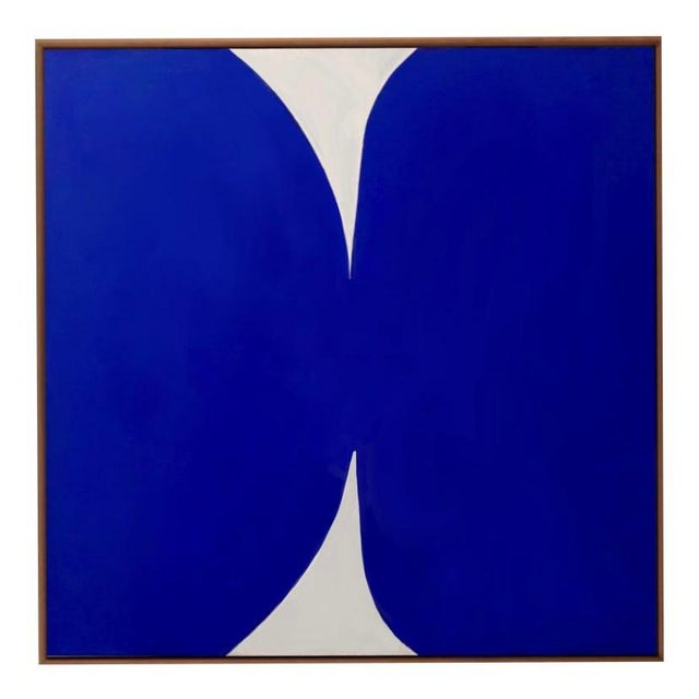 """Klein Blue and White Abstract Painting Media: Acrylic Gouache on Canvas Dimensions: 37"""" x 37"""" x 1.5"""" The piece has been..."""