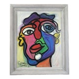 """Image of Abstract Painting, """"Colorful Face"""" by Peter Keil For Sale"""