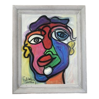 "Abstract Painting, ""Colorful Face"" by Peter Keil For Sale"