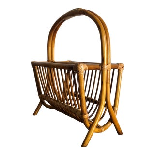 Vintage Mid Century Modern Rattan Magazine Rack in the Franco Albini Style For Sale