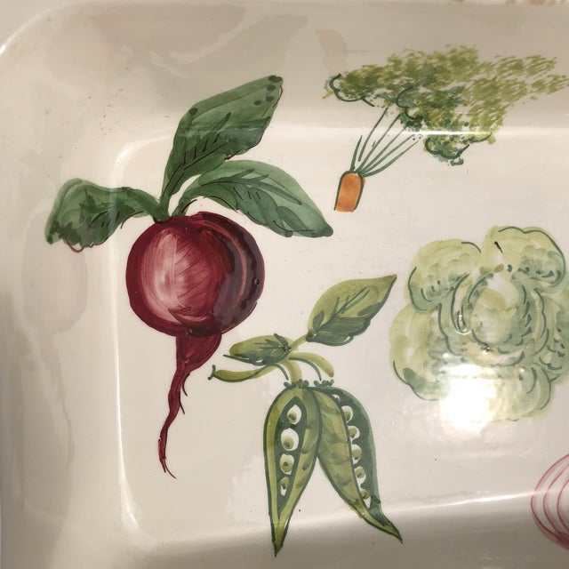 Italian Hand Painted Ceramic Vegetable Baking Dish/Serving Platter For Sale In Pittsburgh - Image 6 of 12