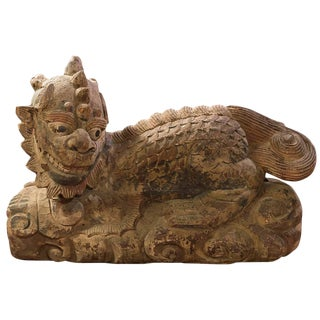Vintage Chinese Qi-Lin Wood Carved Sculpture For Sale