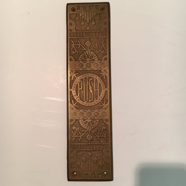 Offered is an antique door push plate. I believe it is solid bronze. In - Vintage Door Push Plate Chairish