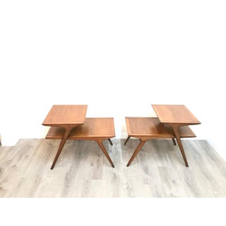 Mid Century Modern John Van Koert for Drexel Walnut Side End Tables - a Pair Preview