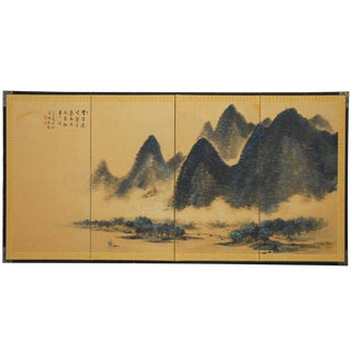 Japanese Four Panel Blue Mountain Landscape Byobu Screen