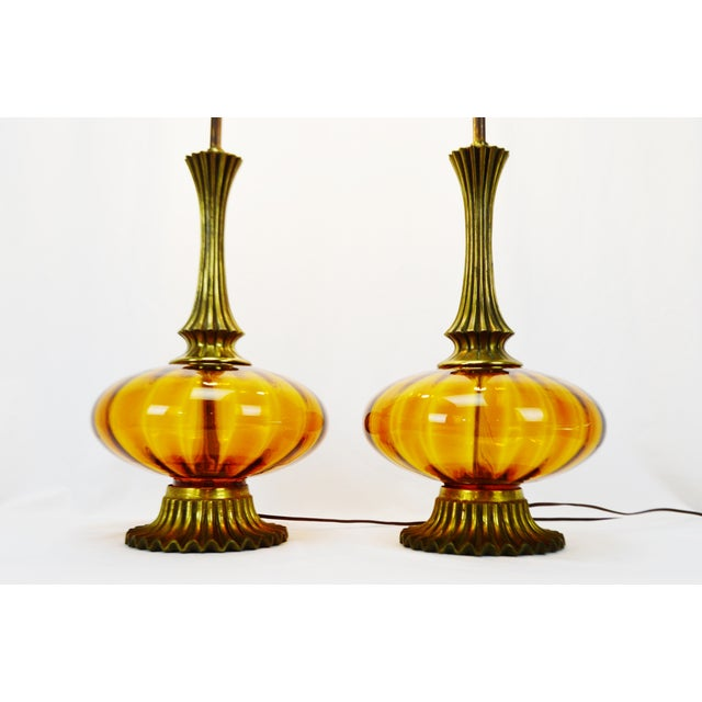 Mid Century Modern Amber Glass Table Lamps - a pair - Image 4 of 11