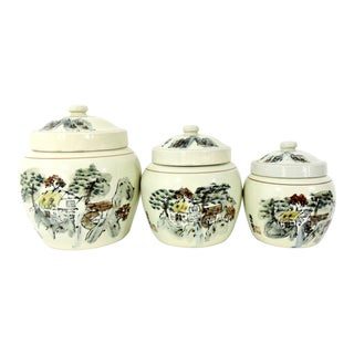 """Mid Century Chinoiserie Porcelain Storage Containers """"Landscape & Waterfall"""" Ginger Jars - Set of 3 For Sale"""