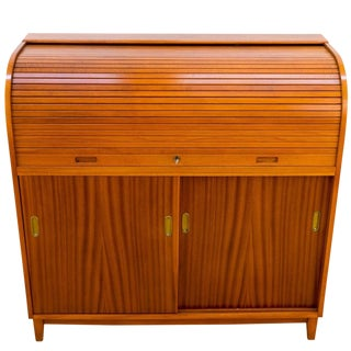 Mahogany Roll Front Desk For Sale