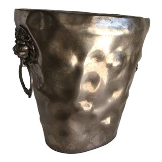Lion Accented Metal Vessel For Sale