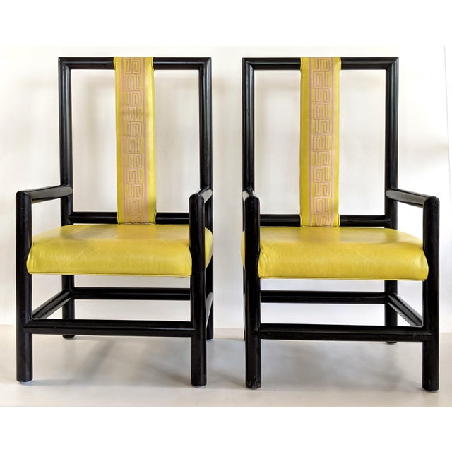 James Mont 1980s Vintage Kelly Wearstler for the Viceroy Hotel High Back Arm Chairs - a Pair For Sale - Image 4 of 13