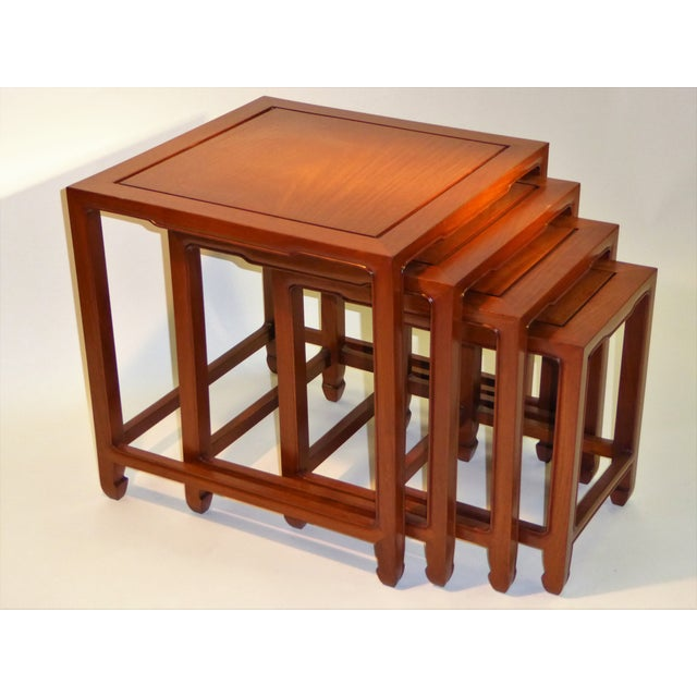 Asian 1970s Vintage Baker Far East Collection Style Teak Nesting Tables - Set of 4 For Sale - Image 3 of 12