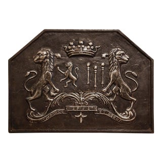 18th Century French Iron Fireback With Crown, Lions and Motto For Sale