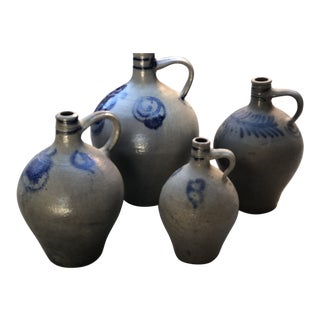 Antique French Country Cobalt & Gray Stoneware Ovoid Jugs - Set of 4 For Sale
