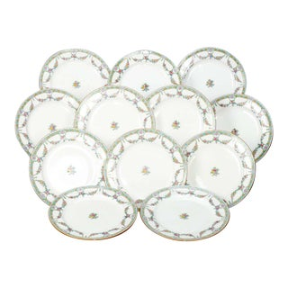 English Mintons Fine China Floral Garland Porcelain Dinner Plates - Set of 12 For Sale