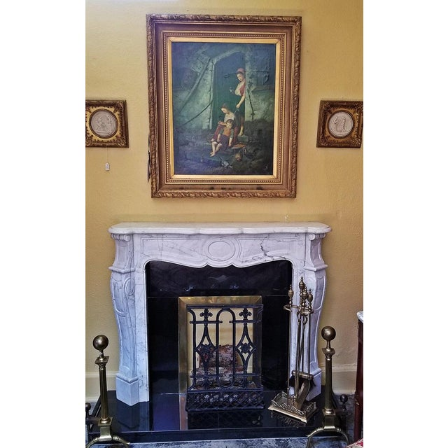 Metal 20c Irish White Marble Fireplace - Complete For Sale - Image 7 of 11