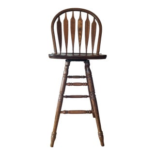 Classic Oak Wide Arrow Bar Stool - 3 Available For Sale