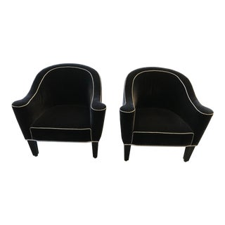 1990s Vintage Velvet Club Chairs- A Pair For Sale