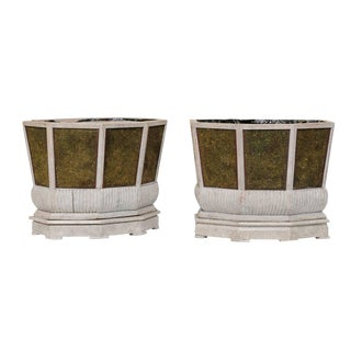 1920s Swedish Planters of Wood, Wire and Stone With Moss Inside - a Pair For Sale