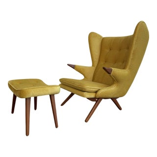 Papa Bear Styled Mid Century Modern Lounge Chair in Canary Yellow For Sale