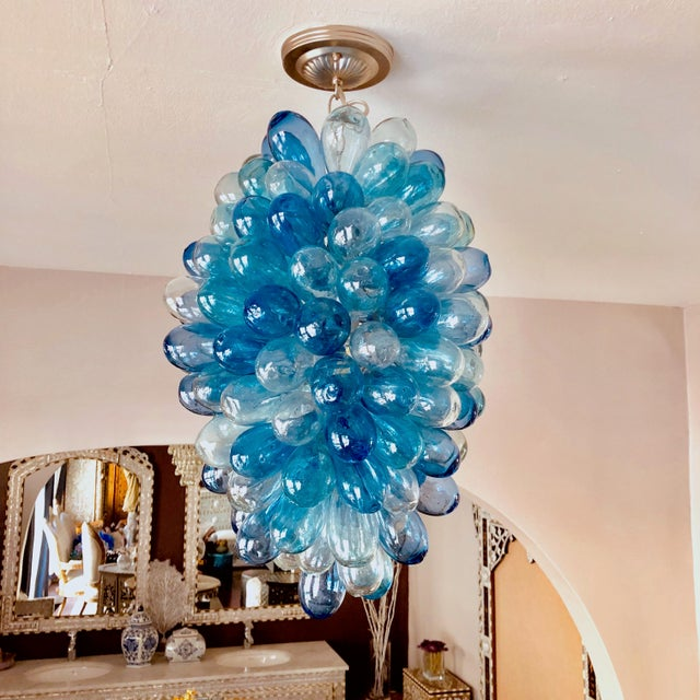 Metal Shades of Blues Handblown Glass Light Fixture For Sale - Image 7 of 11