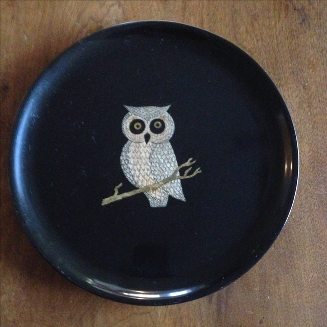 A vintage, black Couroc of Monterey serving tray. Features a solid finish with an inlaid wood and brass owl. The original...