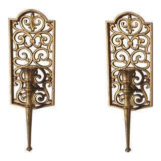Gilded Syroco Sconces - A Pair For Sale