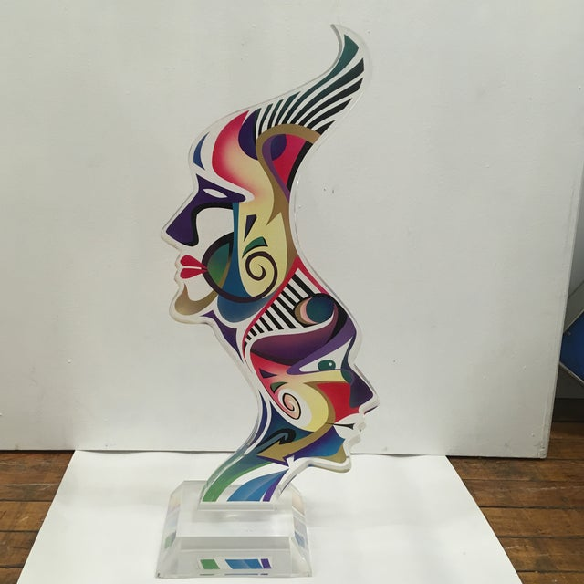 """1990's Acrylic Sculpture """"Two Faces"""" by Schlomi Haziza For Sale - Image 13 of 13"""