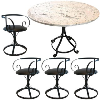 Hollywood Regency Marble-Top Chain Link Garden Patio Set With Wrought Iron Curlicue Chairs For Sale