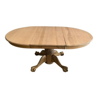 20th Century Early American Claw Foot Solid Oak Dining Table For Sale